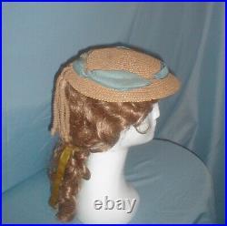 Antique Hat Victorian 1860's Summer Straw Bonnet Unique Trim