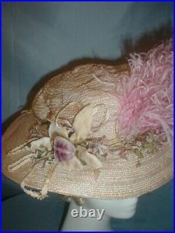 Antique Hat Victorian 1890's Ivory Straw and Lavender Chiffon Exquisite Trim