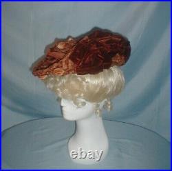 Antique Hat Victorian 1890's Toque Style Straw and Velvet Trim