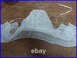 Antique Lace Bonnet Hat Vintage Original White Cotton Embroidery Day Cap