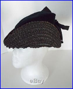 Antique Ladies Hat Black Straw Velvet Satin Bow 1800's Victorian Dress Riding