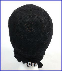 Antique Mid-1800s Civil War Black Mourning Poke Bonnet Vintage Victorian Hat