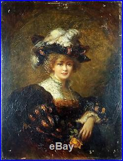 Antique Painting Woman with Hat Oil On Panel Original Old Vintage