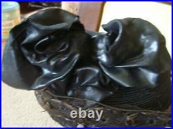 Antique Pre-1900s Ladies HAT Victorian Black w Bow Womens Original Rare