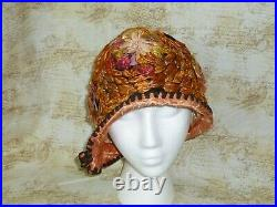 Antique Roaring Twenties Cloche Hat Vintage Straw Flapper Gatsby 1920s 1930s