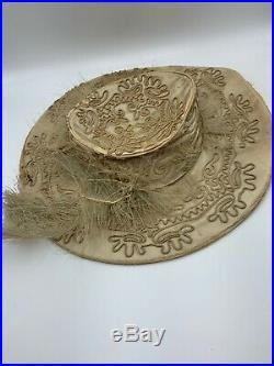 Antique VICTORIAN EDWARDIAN HAT Tan Silk Wide Brim Soutache Trim Feathers Rare