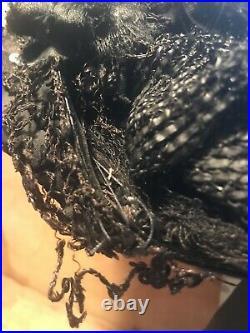 Antique Victorian 1800s Black Silk Hat with Silk & Velvet Millinery Flowers