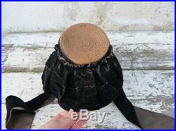 Antique Victorian 1850/1890 French Straw & velvet bonnet /Field bonnet /hat