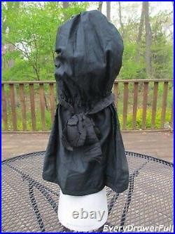 Antique Victorian Black Mourning Poke Bonnet Corded with Sun Apron Amish