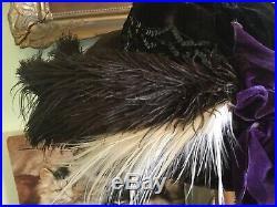 Antique Victorian Black Velvet Hat w Ostrich FeathersSequin BandPurple Ribbon