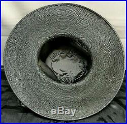 Antique Victorian-Edwardian GIBSON GIRL BLACK STRAW HAT Large Wide Brim
