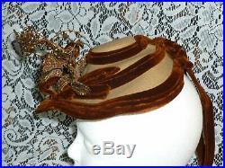 Antique Victorian Hat / 1800s Spoon Summer Chapeaux Bonnet Hat / Beaded Flowers