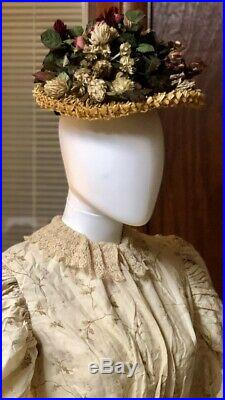 Antique Victorian Hat 1890s Straw Millinery Flowers Velvet Museum Quality