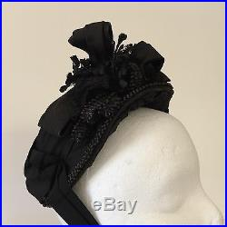 Antique Victorian Ladies Black Hat Chin Ribbons Tagged Margaret Hamilton 1880s