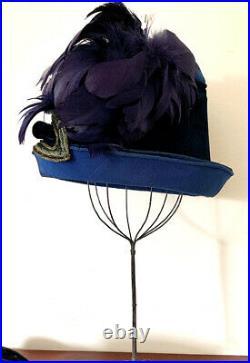 Antique Victorian Ladies Tall'Flower Pot' Hat Blue Velvet w Purple Plumes