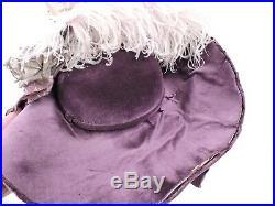 Antique Victorian Purple Velvet Hat W Lame Roses & Ostrich Plumes