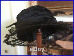 Antique Victorian Velvet Hat w Silk Metal Thread Millinery FlowersSequinsLace