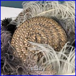 Antique Victorian Violet Ostrich Feather Straw Hat