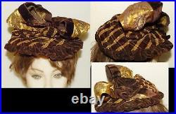 Antique Victorian Vtg 1890 Brown Plaid Velvet Gold Satin Floral Ribbon Dress Hat