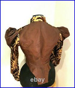 Antique Victorian Women's Jacket Peplum Bustle Back Straw Hat Vintage Steampunk