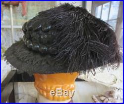 Antique Victorian/edwardian Black Chantilly Lace & Feathers Straw Hat 21