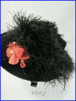 Antique Vintage 1900's Black Velvet Ostrich Hat Wide Brim French Millinery