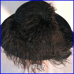 Antique Vintage Edwardian Hat Ostrich Plumes Jet Beaded Ornament