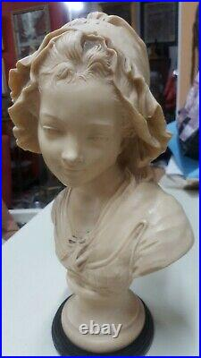 Antique/Vtg 16 Bust Victorian Lady With Hat Sculpture Statue Heavy Cast Marble