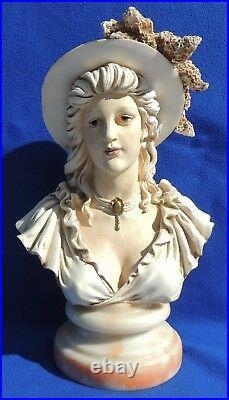 Antique/Vtg 16 Bust Victorian Lady Woman Hat Sculpture Statue Marble Base #5274