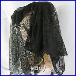 Antique Vtg Victorian Womens 1800s Black Funeral Mourning Hat Veil Pin Bonnet