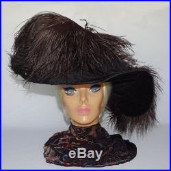 Antique Wide Brim Gibson Girl Black Ostrich Feather Velvet Hat a8e9ad1f2a8