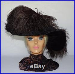 Antique Wide Brim Gibson Girl Black Ostrich Feather Velvet Hat