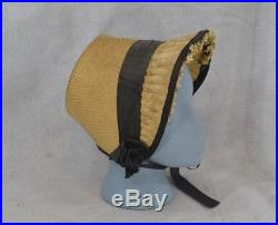 Antique bonnet straw Civil War Era natural original 1860