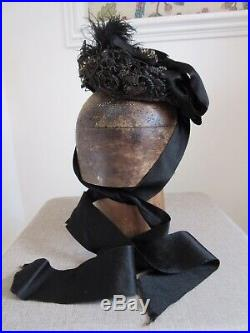 Antique ladies Victorian black mourning hat by c pitcher st Stephens st Norwich
