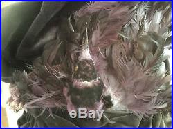 Antique vtg Victorian purple velvet hat w real taxidermy bird & pink silk ribbon