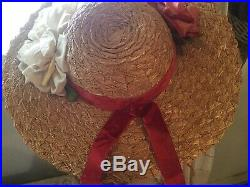 Antique vtg ladies woven straw hat w velvetsilk millinery rosesvelvet ribbon
