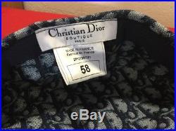 Aut Vtg Rare Christian Dior Trotter Navy Monogram Logo Print Paper Boy Beret Hat
