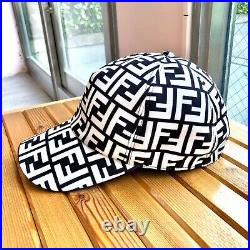 Auth FENDI Zucca Peaked Cap Canvas White Black Vintage From Japan