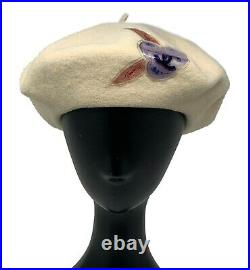 Authentic CHANEL A14667 Coco Mark Beret Hat Head Accessory Ivory Wool Rank AB