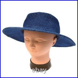 Authentic CHANEL CC Logos Hat Denim Cotton Blue Vintage France AK25461e