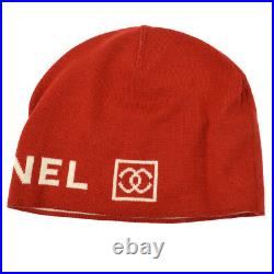 Authentic CHANEL Sports Line CC Knitted Hat Red White Wool Vintage GS01287c