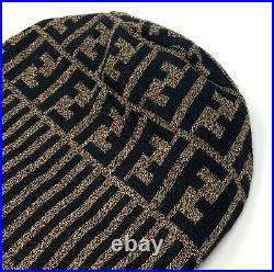 Authentic FENDI Vintage FF Zucca Knit Cap Beanie Hat Brown Black Wool Rank A