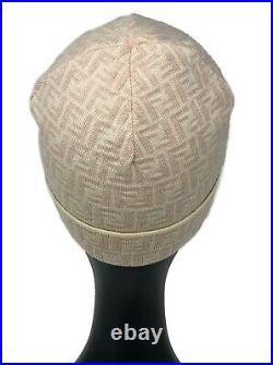 Authentic FENDI Vintage Zucca Knit Beanie Head Accessory Ivory Pink Wool Rank AB