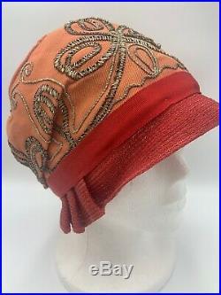 Authentic Flapper Art Deco Cloche Hat Soutache Embroidery Vintage 1920s Lyman