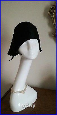 Authentic Miss Dior Vintage 40's Black Hat Cloche With Bows Stunning