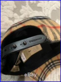 Authentic New BURBERRY UNI Men's Women's Vintage Check Wool Baseball Cap Hat L