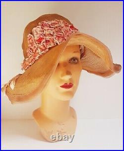 Authentic VTG / Antique 20s 30s Cloche Wide Brim Floppy Horsehair Hat NOS
