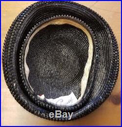 Authentic, Vintage, Jack McConnell Black, Straw, Beaded, Beret Hat (L)