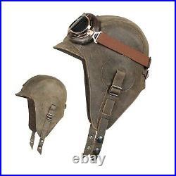 Aviator Hat Leather Pilot Cap Helmet WW2 Motorcycle Vintage Brown Men Women
