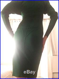 Azzedine Alaia vintage bottle green knit dress size 6 us size 38 euro 1980's 1/2